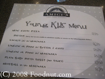 Amicis Pizza Kids Menu