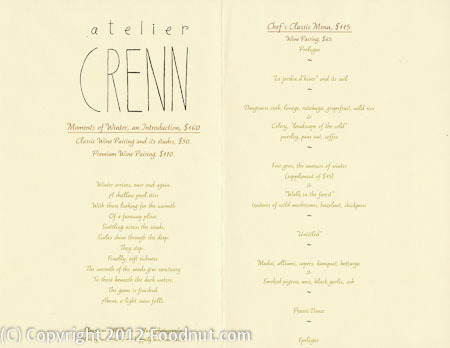 Atelier Crenn San Francisco menu