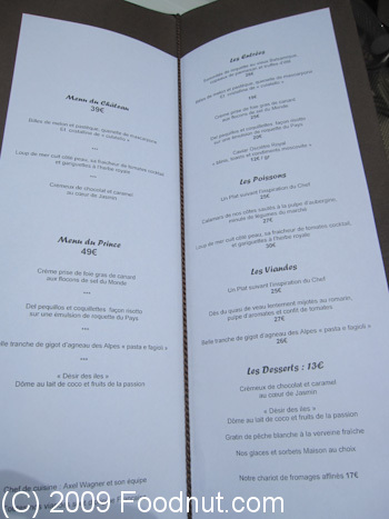 Chateau Eza Eze Le Village Menu
