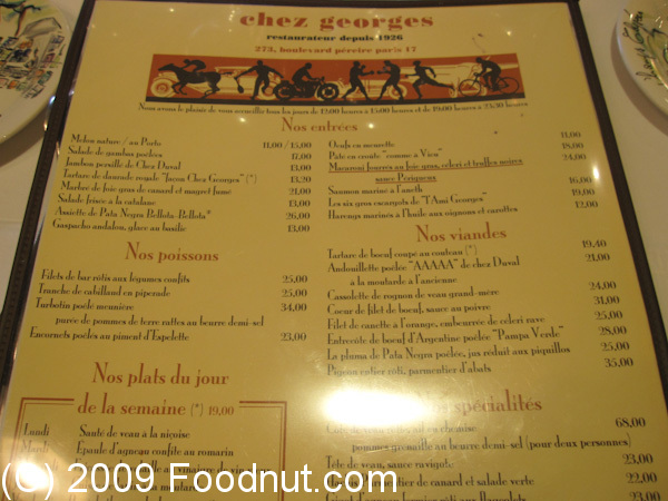 Chez georges restaurant review paris france for H kitchen paris menu