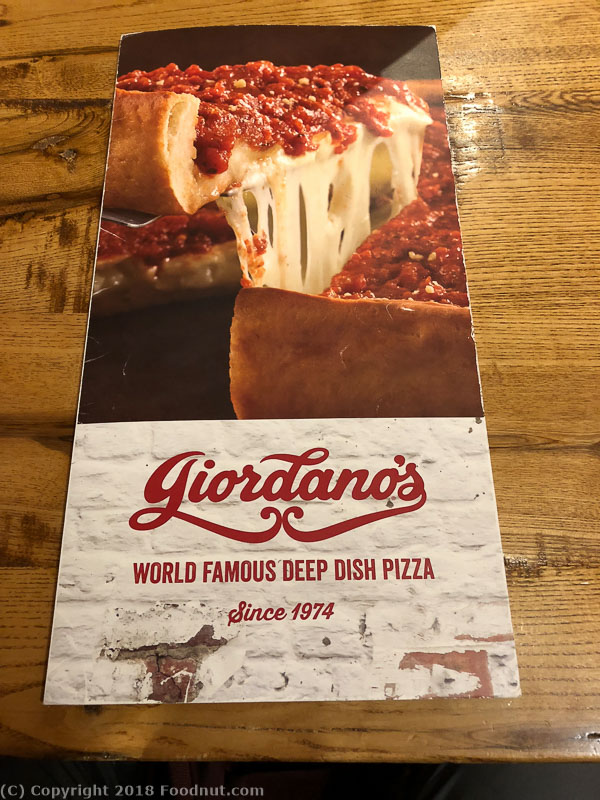 Giordanos Pizza Chicago Menu