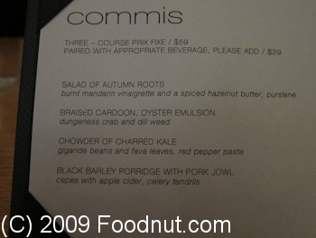 Commis Oakland Menu