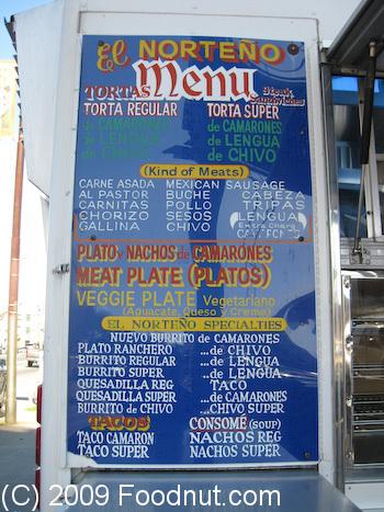 El Norteno Restaurant Menu