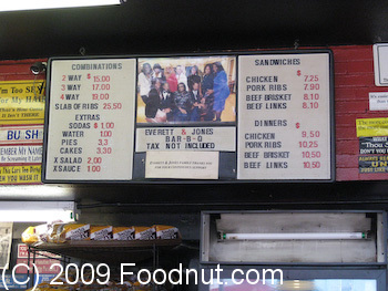 Everett and Jones Menu