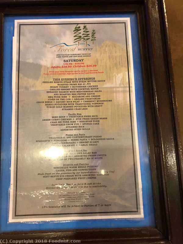 Forest Buffet Harrahs Lake Tahoe menu