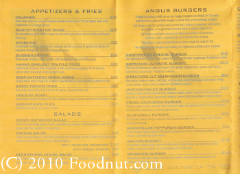 Godfathers Burger Lounge Belmont Menu