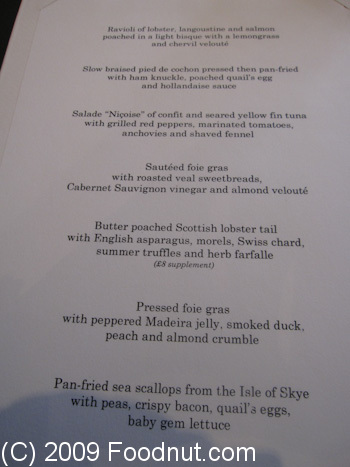 Gordon Ramsay London UK menu 4