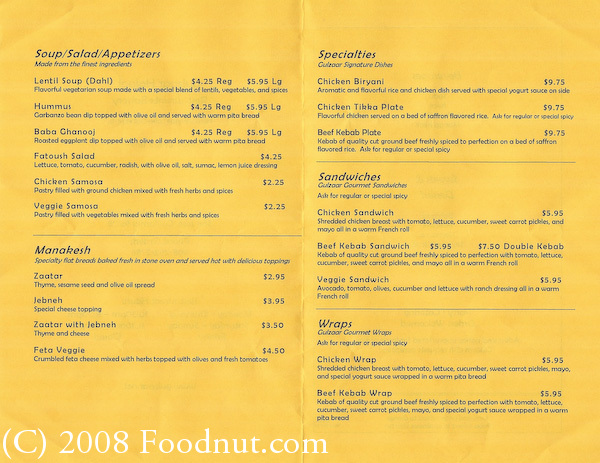 Gulzaar halaal restaurant bakery review indian and for Arabic cuisine menu
