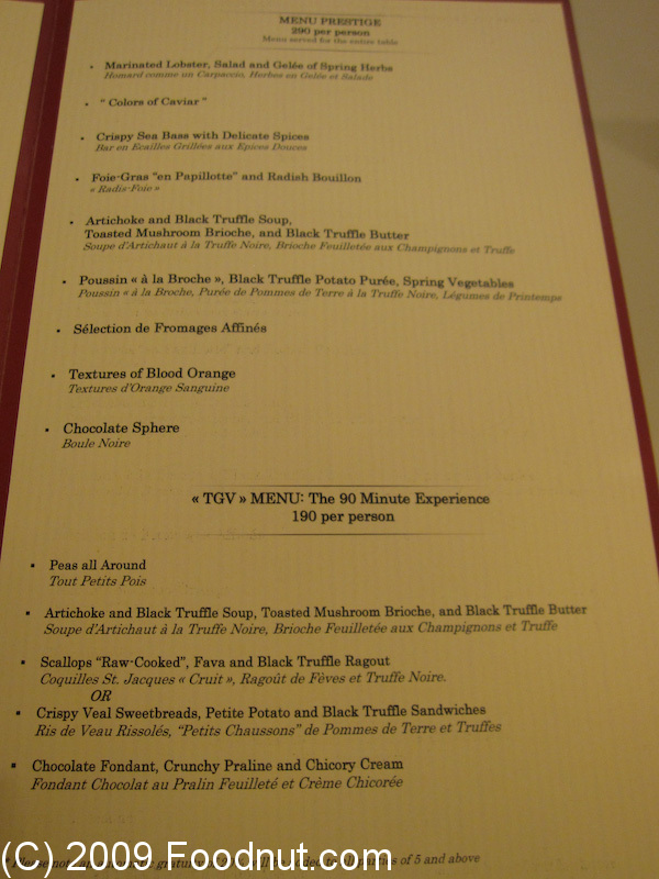 Restaurant Guy Savoy Las Vegas Menu 5