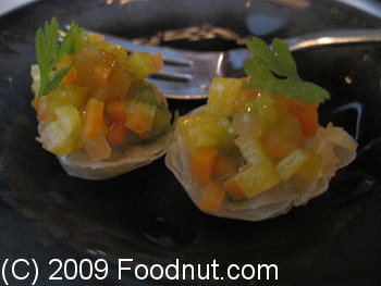 Guy Savoy Paris France Amuse Bouche Tomatoes on a shell
