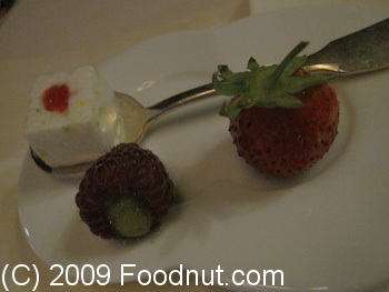 Guy Savoy Paris France Pre Dessert stuffed Strawberry Raspberry Marshmellow