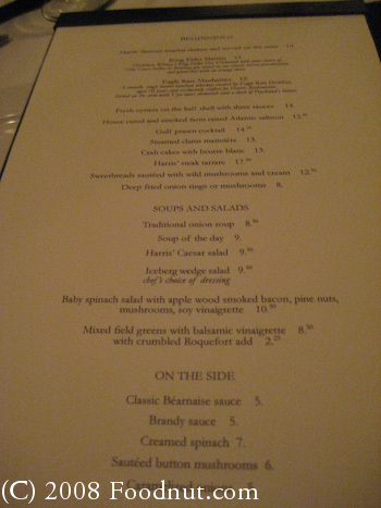Harris Steakhouse San Francisco Menu 3