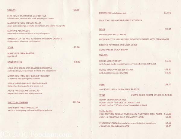 Il cane rosso restaurant san francisco for Il rosso bologna menu