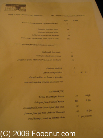 Josephine Chez Dumonet Paris France Menu 1