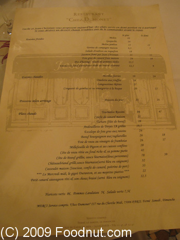 Josephine Chez Dumonet Paris France Menu