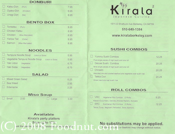 Kirala2 Berkeley Menu 2