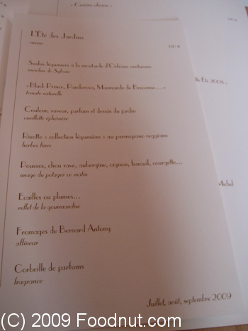 L Arpege Paris France Menu 1