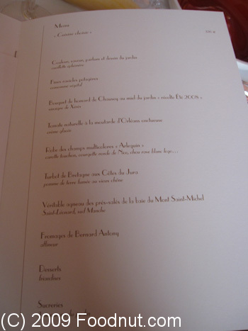 L Arpege Paris France Menu 2