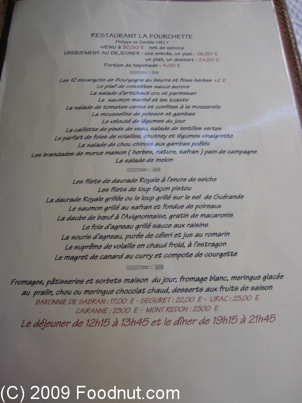 LA FOURCHETTE Restaurant Review, Avignon, France | Foodnut.