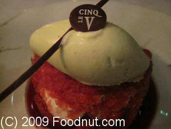 Le Cinq Paris France Le Cinq Paris France Pistachio Ice Cream strawberry granita.JPG