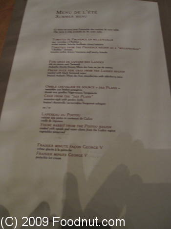Le Cinq Paris France Menu 7