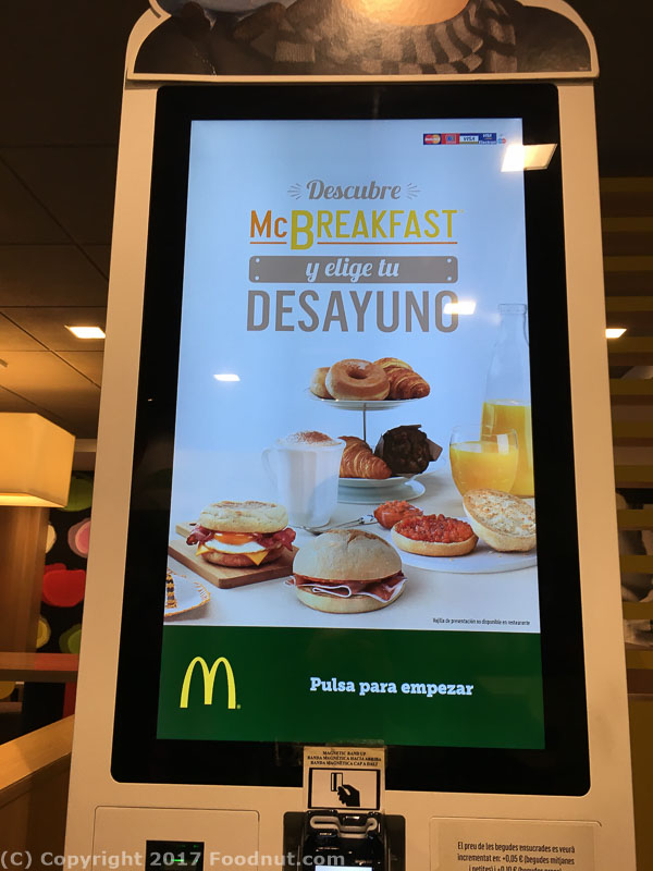 McDonalds Barcelona Sagrada Familia 2017 menu (1)