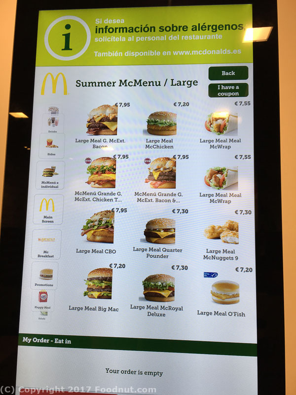 McDonalds Barcelona Sagrada Familia 2017 menu (2)