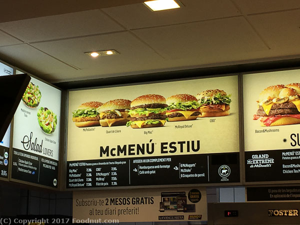 McDonalds Barcelona Sagrada Familia 2017 menu (3)