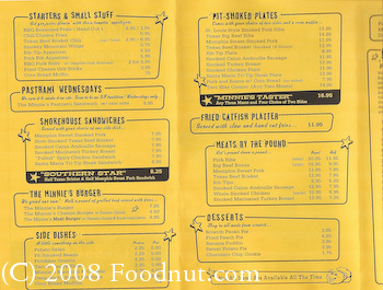Memphis Minnie San Francisco Menu 1