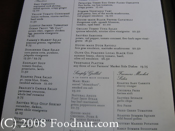 One Market San Francisco Menu 1