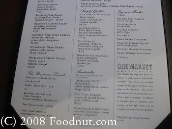 One Market San Francisco Menu 3