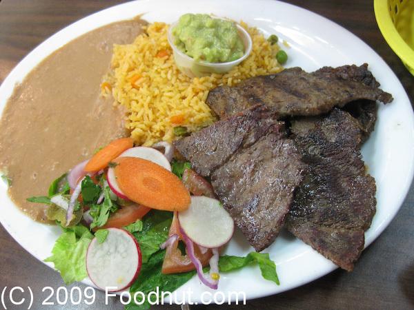 Pancho Villa Taqueria Carne Asada Dinner plate & Pancho Villa Taqueria San Mateo