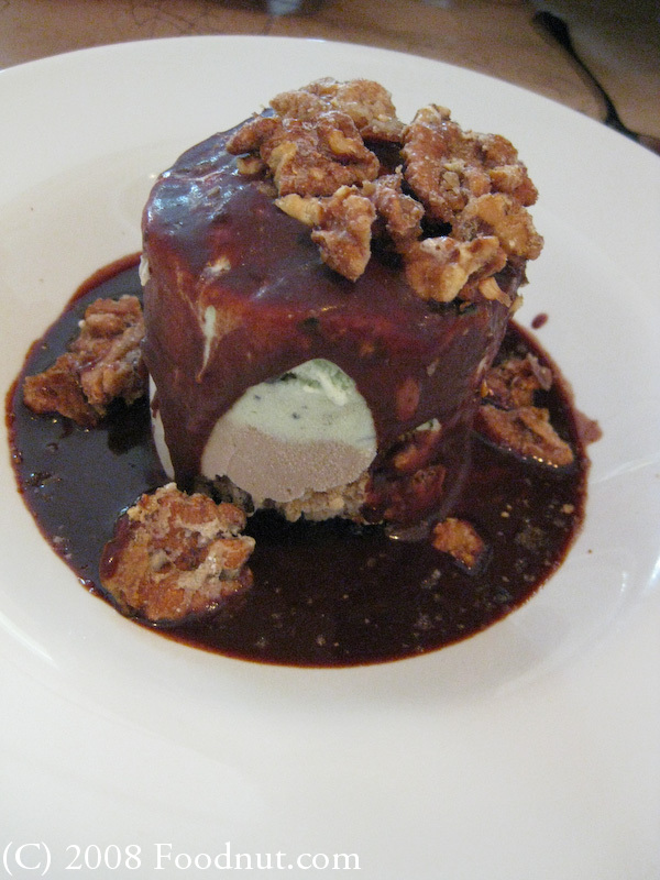 Mint and Espresso Mud Pie ($6) with chocolate sauce and walnuts was ...