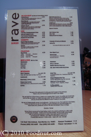 Rave Burger San Mateo Menu 1