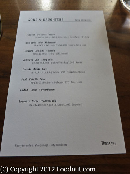 Sons and Daughters San Francisco Tasting Menu