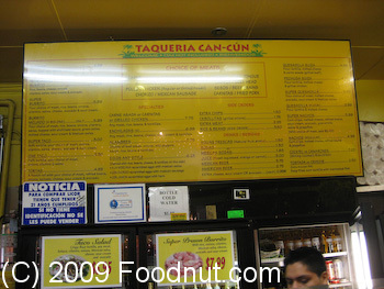 Taqueria Cancun San Francisco Menu