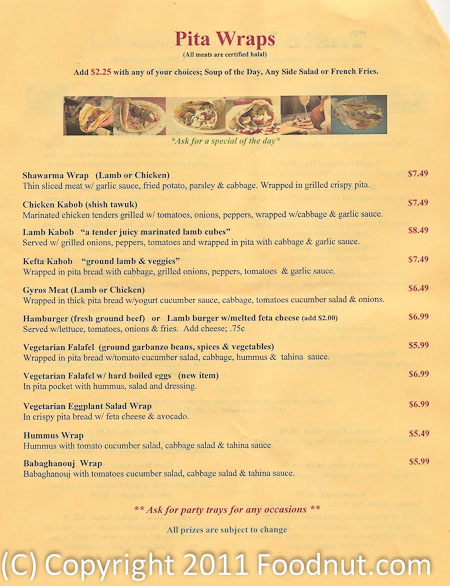 Taste In Burlingame menu