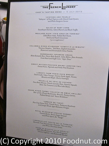 The French Laundry Yountville menu