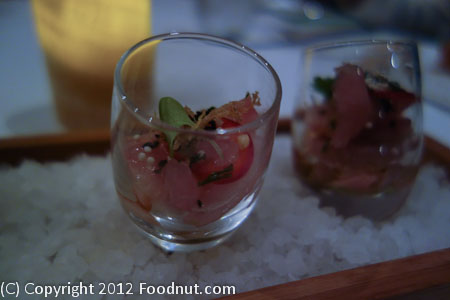 The Sea by Alexanders Steakhouse Hamachi shots